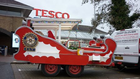 club's sleigh outside Tesco during one of theirstatic collections