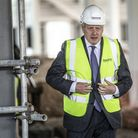 Prime Minister Boris Johnson visits the construction site of the new vaccines Manufacturing and Inno