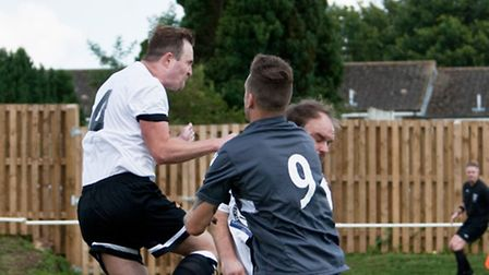 Swaffham Town's players, white, have enjoyed an excellent start to the campaign. Picture: Eddie Dean