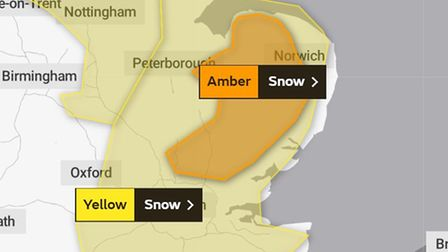 The amber weather warning which has been put in place for snow for Norfolk and Suffolk and other parts of the east.