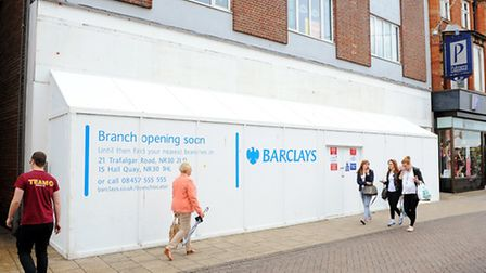 Still boarded up the new Barclays Bank branch on the Market Place in Great Yarmouth.Picture: James B