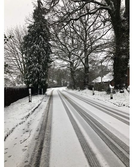 Borley Green at Woolpit in the snow