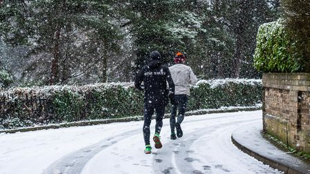 Joggers brave the snow in Ipswich