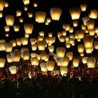 """Hundreds of Taiwanese release """"sky lanterns"""" to celebrate the traditional Chinese Lantern Festival,"""