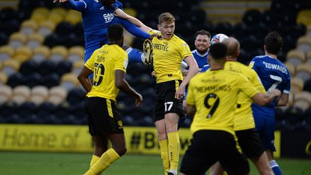 Toto Nsiala's first half header goes wide at Burton Albion. Picture Pagepix Ltd