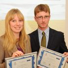 Rebecca Colman and Andrew Spinks with their certificates after being selected as the Norfolk Scholar