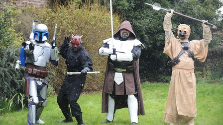 At the King's Lynn Arts Centre for the Stars Wars exhibition were (from left) Jango Fett, Darth Maul