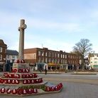 The Strand, Exmouth, with war memorial in the foreground