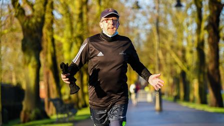 On Sunday morning, 79 year-old Mick Ennis ran his 100th 10k, since lockdown last April. Picture: Ian