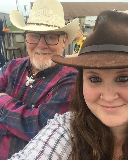 Reg Davies, 84, and his daughter and full-time carer Gemma Davies, 32, have been posting upbeat videos on TikTok.