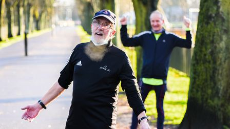 Mick Ennis was cheered on by other runners at The Walks on Sunday morning. Picture: Ian Burt