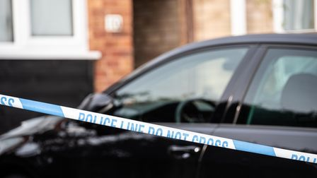 Police investigate the scene of a suspected murder in Laing Road, Colchester.