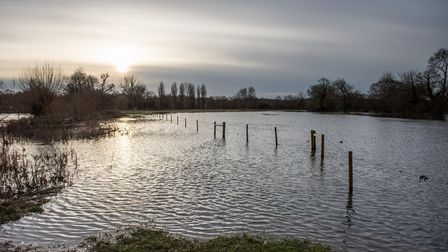 The River Stour in Dedham has completely burst it's banks, flooding the surrounding fields. Picture
