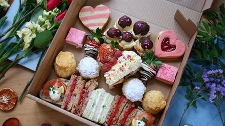 The Valentine's Day afternoon tea from the Orangery Tea Room in Ketteringhall Hall.
