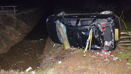 The Ford Focus the girls were travelling in overturned.