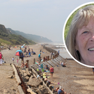 File image of the beach at Overstrand, and inset, councillorAngie Fitch-Tillett.