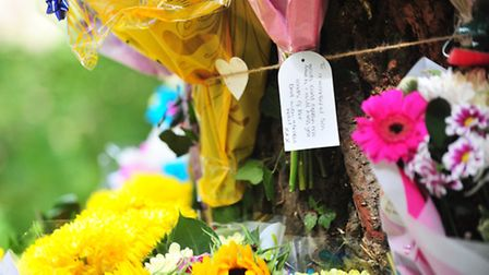 Floral tributes to Daniel Casteleir who died in a car crash in Oulton, Lowestoft.