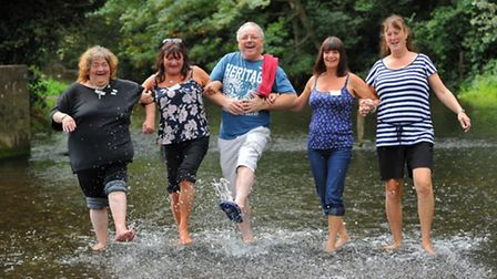 Messing about in the river just like when they were kids. Left to right Merryl Batch, Michele Knight