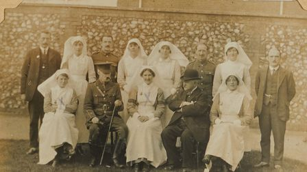 Attendants and nurses at St Andrew's – George is top row, third left. Used by kind permission of the Yates family