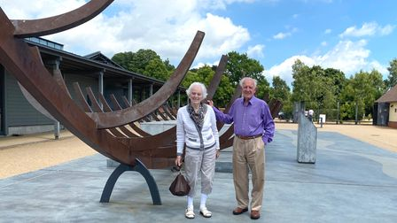 Clifford and June Smith withthe full-size steel representation of the treasure ship at Sutton Hoo