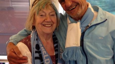 Margarita Robertson's trip to Wembley. Pictured with former customer, Paul Thompson: Submitted pictu