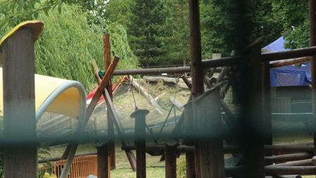 Damaged play equipment pictured the day after Alexia's accident at Mile End