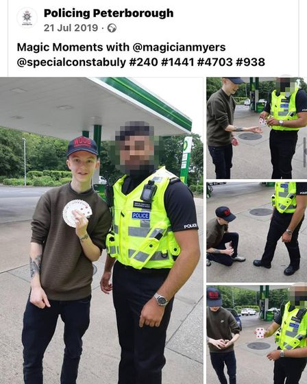 Craig performing card tricks for an officer in Peterborough while on bail following his arrest.