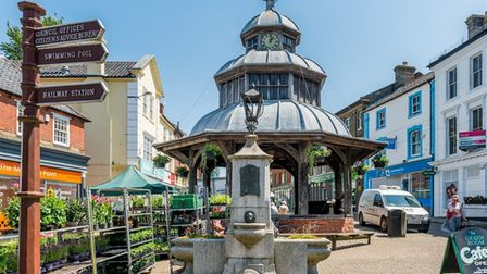The Town Clock, or Market Cross, in North Walsham's town centre.