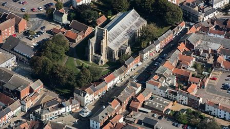 North Walsham's town centre from above, with the ruined tower at St Nicholas Church in focus.