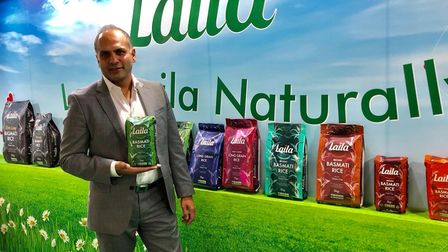 Harry Dulai, manaiging director of Surya Foods, promoting the Lail Rice re-brand at the world food a