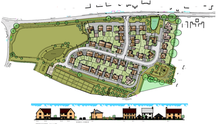 The design for the 50 homes proposed by Hopkins Homes, south of Dereham Road in Mattishall