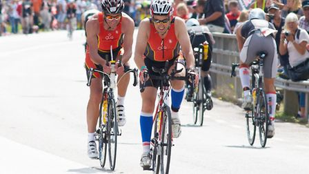 Tri-Anglia members Geoffrey Garfoot and Richard Woodward in the Ironman event in Kalmar, Sweden. Pic