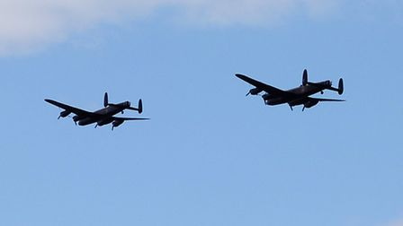 Two Lancasters performed a display at RAF Marham today. Picture: Chris Bishop