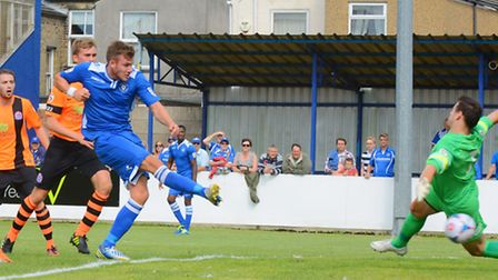 Vanarama Conference NorthLowestoft Town v AFC Fylde at Crown Meadow.Shaun Bammant goal.Picture: Jame
