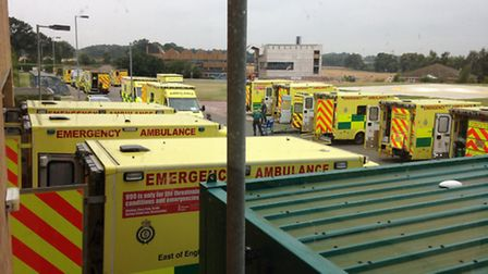 Ambulance delays at the Norfolk and Norwich University Hospital in August. Picture: Supplied