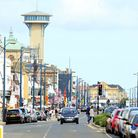 Looking north along Marine Parade, also known as the Golden Mile, in Great Yarmouth. August 2014. P