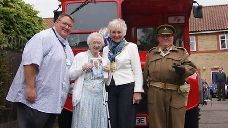 Nelly Manzonas on her 100th birthday at Alexander Court in Thetford with Thetford mayor Sylvia Armes