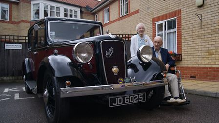 Nelly and Alex Manzonas on their 100th and 93rd birthdays at Alexander Court, Thetford