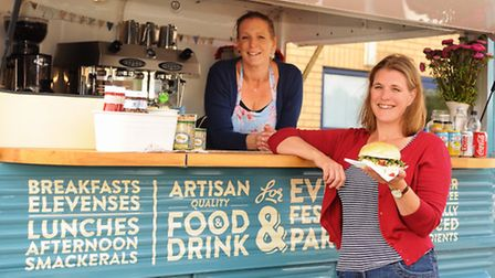 Connie George, right, with her Trumpet and Crumpet van, and a slow cooked pork and homemade salsa bu