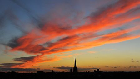 """Norfolk and Norwich lives up to its """"big skies"""" reputation as the sun sets over Norwich.PHOTO BY SIM"""