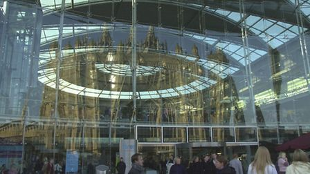 Picture of St Peter Mancroft Church reflection on The Forum in the winter sun.Photo: Angela SharpeCo