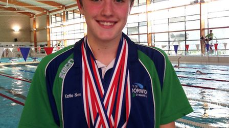 City of Norwich Swimming Club's Katie Nesbitt witht he five medals she won at the Arena European Jun