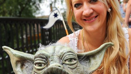 The Grand Norwich Duck Race for Break. Artist Mandii Pope with her Yoda duck for the corporate race.