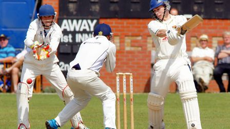 Sam Arthurton on his way to a century against Suffolk. Picture: Tim Ferley