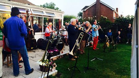 Water Rats jazz band playing in the White Horse Upton pub garden three weeks ago.
