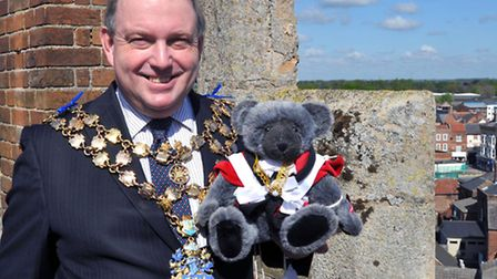 Former mayor of Wisbech, Jonathan Farmer pictured at the top of St Peter's Church in 2012.