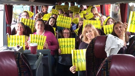 John Lewis, Norwich staff on the coach heading to the Birmingham event.