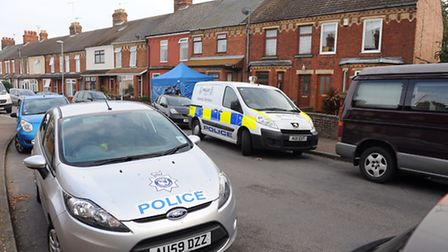 Police outside an address on Sussex Road in Gorleston after the body of a woman was discovered.Pictu