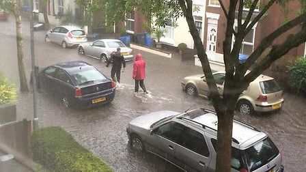 Flooding on Beatrice Road, Norwich. Picture: Dani Cameron