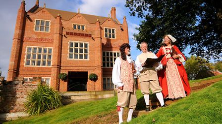 The Paston Heritage Society celebrating its 21st anniversary at Oxnead Hall. Left to right, chairman